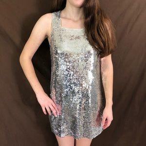 Alice + Olivia Silver Sequin Shift Dress Small